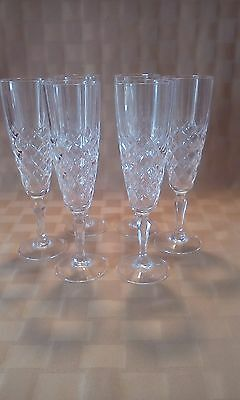 Crystal Champagne Flutes ELEGANT LOT OF 6 Diamond Design