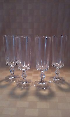 Heavy Crystal Champagne Flutes ELEGANT LOT OF 4