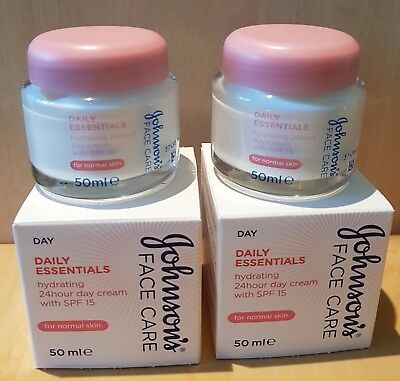 Johnsons Face Care Daily Essentials Hydrating 24Hr Day Cream 50Ml With Spf15 X 2