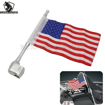Rear Side Antenna Mount Flag Pole American Flag For Honda GoldWing GL1800 01-11