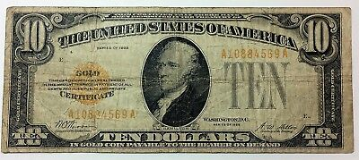 1928 $10 Small Size Gold Certificate - Grades Fine with no problems