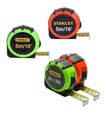 Stanley Hi Viz Tape Measure with attached belt clip. 5m or 8m available