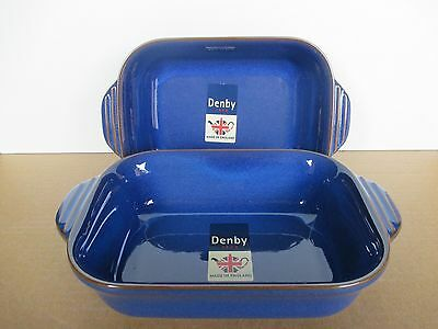 Denby Imperial Blue 2 Small Oblong Dishes New First Quality Excellent Condition