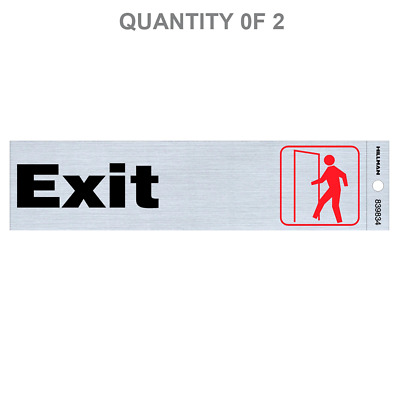 Hillman Group 839834 2-Inch by 8-Inch Black and Red/Nickel Exit Sign (2 Pack)