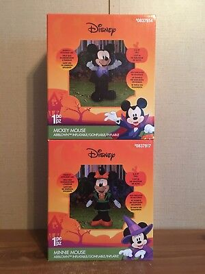 DISNEY Mickey Mouse Vampire & Minnie Mouse Witch Halloween Air Blown Inflatables