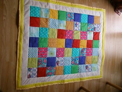 Handmade Quilted Baby Quilt Cot / Pram Indian Summer