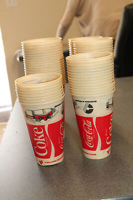 Lot of 100 NOS Vintage Coca Cola Coke Small Wax Cups Centrum in Worcester