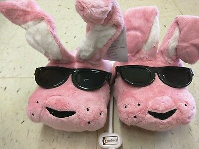 NWT Energizer Bunny Plush Slippers ONE SIZE Fits Most 9 pink sunglasses holiday