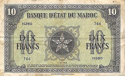 Morocco  10 Francs  1.5.1943  WW II issue  Series N260  Circulated Banknote E27D