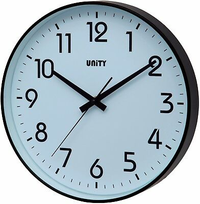 Unity Fradley Black Case Silent Sweep Wall Clock 30Cm