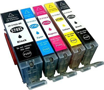 5 Non-OEM For Canon Pixma PGI570XL CLI571XL MG5700 MG5750 MG5751 Ink Cartridges