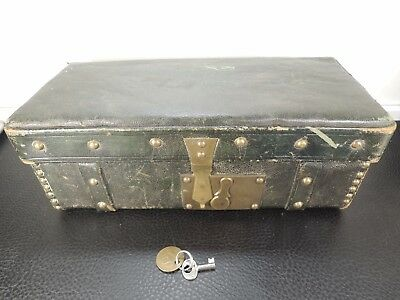 Wwi Trunk Traveling Chest Sole Leather Brass Mechanism Lock Working