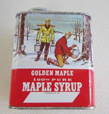 Vintage Golden Maple 100% Pure Maple  Syrup 16oz Empty Tin Cook Farm Service