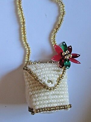 "Victorian Purse Christmas Ornament - 1 1/2"" Beaded Purse with Handle"