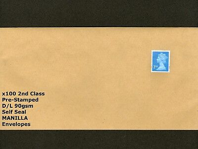 x100 Pre-Stamped D/L 90gsm Envelopes MANILLA Pre-Paid 2nd Class Stamp Attached
