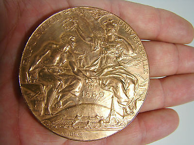 Bronze 62 mm EXPOSITION UNIVERSELLE PARIS 1889 Louis Bottée Medal 铜牌 TTB