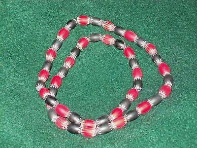 "FINE 24"" STRAND ~ RED & BLACK CHEVRON TRADE BED NECKLACE 1800's ~TENNESSEE~ A485"