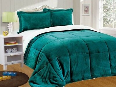 Chezmoi Collection 3pc Micro-mink Sherpa Down Alternative Comforter Queen, Teal