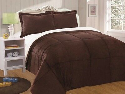 Chezmoi Collection 3pc Sherpa Down Alternative Comforter King, Chocolate Brown