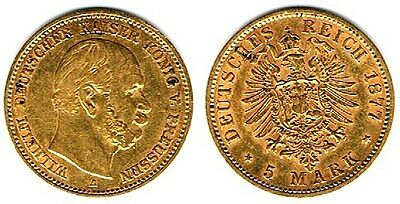 5 Mark Preussen 1877 A, Wilhelm I., Gold