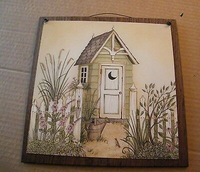 Green Rustic Outhouse Bathroom country primitive Bath wood wall home decor sign