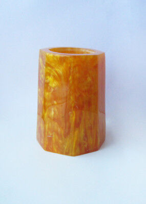 VINTAGE OLD YELLOW LAVA FLOW CATALIN AMBER COLOR VASE PENHOLDER 440 grams