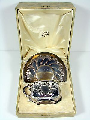 Antique Large French Silver Plate Vermeil Cup & Saucer Rocaille Louis XV in Box