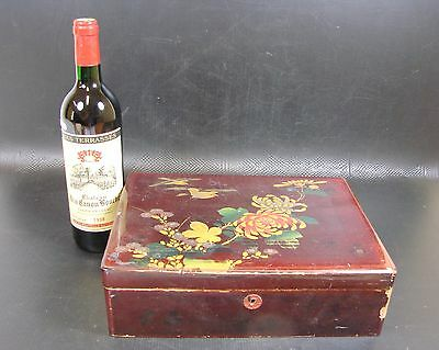 Antique 19th C Japanese Lacquer Box, Birds and Flowers Decoration, Signed