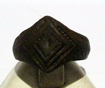 Beautiful Post-Medieval Bronze Ring With Engraving On The Top # 409