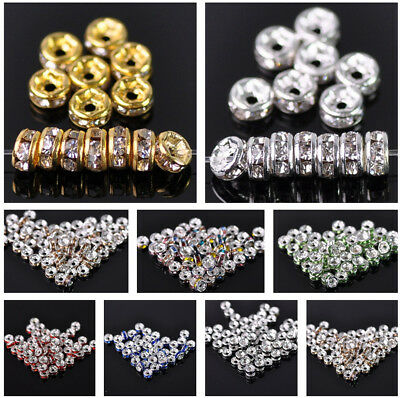 100pcs 4mm Gold/Silver Plated Rondelle Metal & Rhinestones Loose Spacer Beads