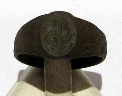 Beautiful Post-Medieval Bronze Ring With Engraving On The Top # 91B