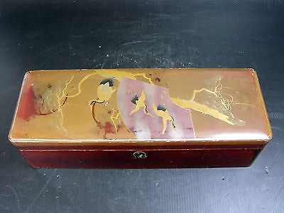 Antique 19th C Japanese Lacquer Glove Box, Gold and Cranes Decoration, Signed