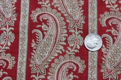 Antique American Printed Turkey Red Paisley Stripe Cotton Fabric Yardage c1870