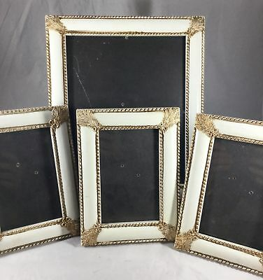 4 Vintage Style Picture Frames Painted White Ornate Gold Trim Family Photos