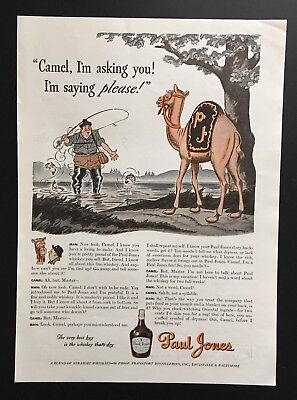 1942 Paul Jones whiskey camel fisherman illustrated whisky vintage print ad