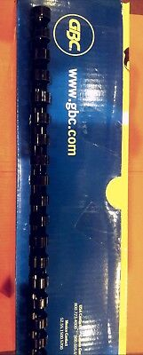 GBC CombBind Spines, 1/2'' 12mm, 85 Sheet Capacity, Navy, 100/Box
