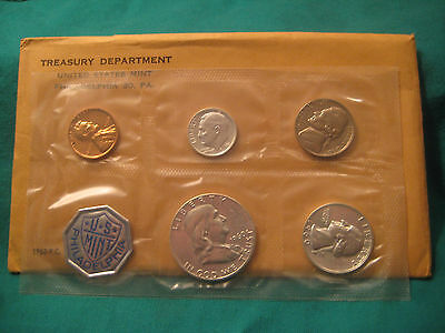 1960 United States Mint Silver Proof Set with Original Packaging-5 Coins-Opened