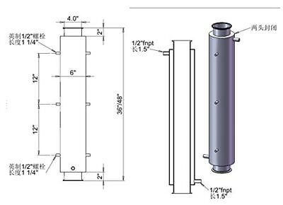 """HFS(R) 4"""" x 48"""" Fully Jacketed Column - 1/2"""" Ports to Jacket - Stainless 304"""