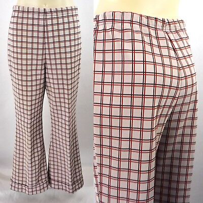 "Vintage 70s Plaid Polyester Bell Bottom Pants M 26-323"" Waist 27 Short Ugly Xmas"