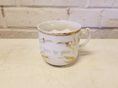 "Antique German Porcelain ""Love the Giver"" Mustache Mug"