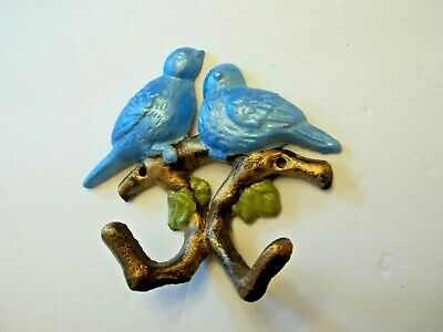 Cast Iron Blue Birds Nesting Wall Decor With Tree Branch Hooks For Pictures, Etc