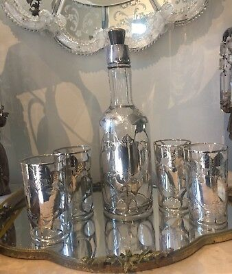 Antique La Pierre GLASS DECANTER STERLING SILVER OVERLAY 4 Drinking GLASSES