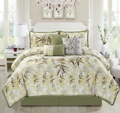 Chezmoi Collection 7-Piece Bamboo Forest Embroidery Comforter Set, Cal King
