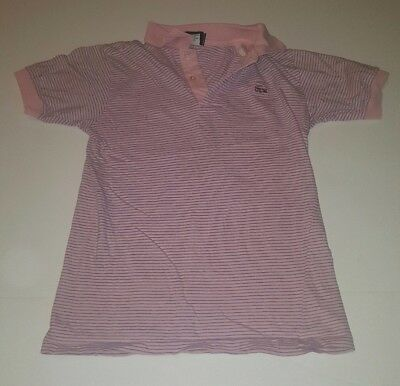 Vintage Izod Lacoste Youth 14 Pink with light blue stripes