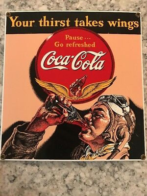 Coca-Cola Aviator Thirst Takes Wings Metal Porcelain Sign WWII Decor Ande Rooney