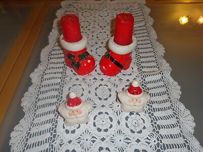 Vintage Novelty Christmas table lot Santa Star salt pepper candle holder boots