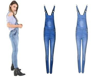 NEW WOMEN LADIES Denim Full Length Dungaree Overall Jumpsuit Size 8 10 12 14 16