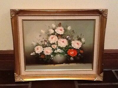Shabby Chic R. Thomas Vintage Painting Of Pink Roses Framed In Gold Painted  Fra
