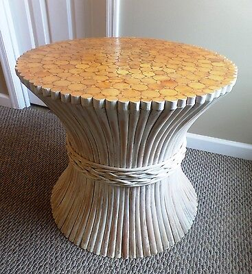 Mid Century McGuire Bamboo Rattan Whitewashed Sheaf of Wheat Table