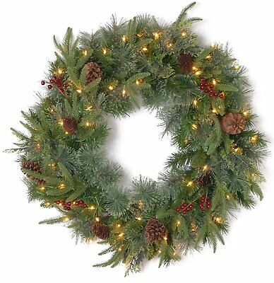 National Tree 24 Inch Feel Real Colonial Wreath with 8 Pine Cones, 8 Red Berries